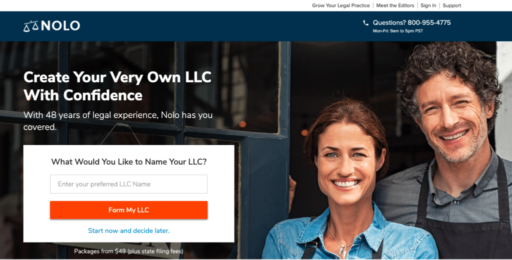 Nolo's website, Form an LLC with Nolo LLC formation services