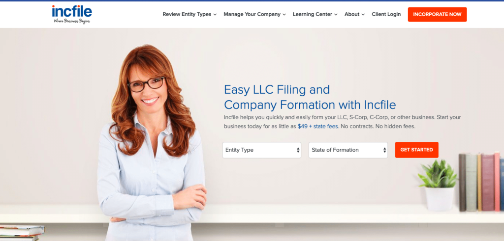 Incfile LLC service Home Page