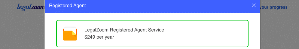 LegalZoom Registered Agent service price of $249 a year