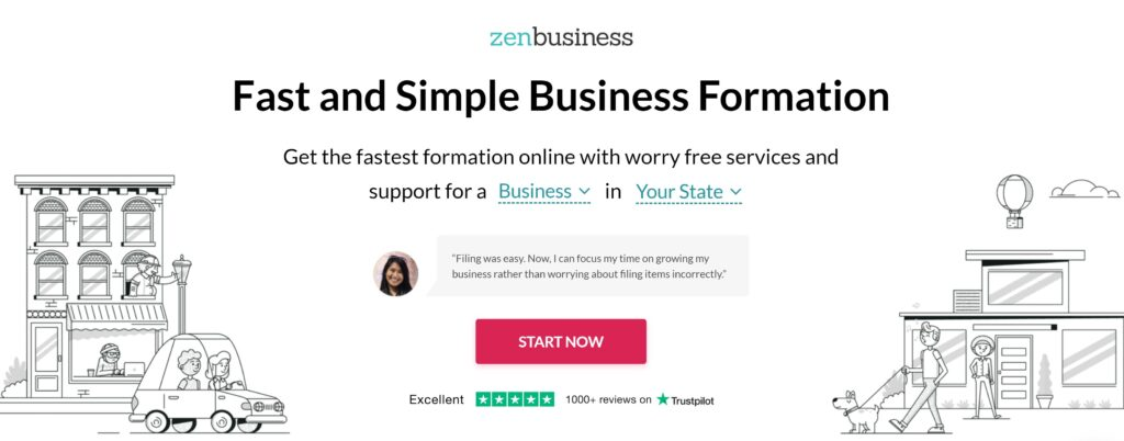 ZenBusiness LLC service website Front Page