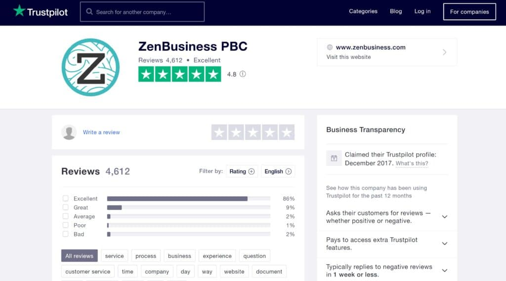 ZenBusiness LLC service Trustpilot reviews January 2021
