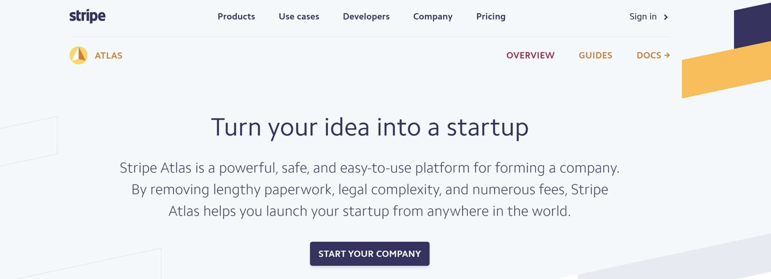 Stripe Launch incorporation service for founders and startups