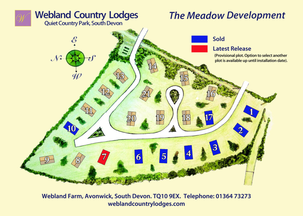 Webland Farm Meadow Lodges Site Map