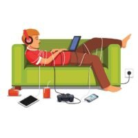 Lazy teen student lying down with laptop on couch tied down with technologic gadget wires. Flat style vector illustration isolated on white background.