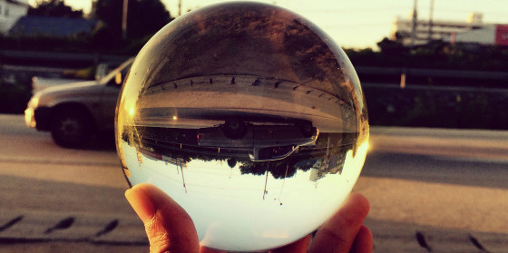street viewed through a mirror ball