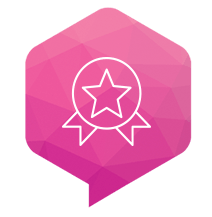 pink speech bubble with star badge