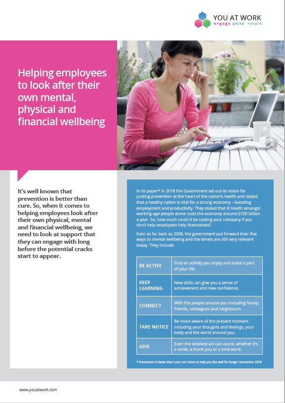 Helping employees to look after their own mental, physical and financial wellbeing