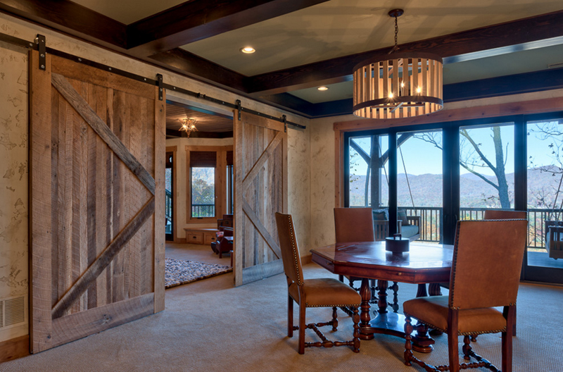 Cute Dining Room Designs With Wooden Sliding Doors