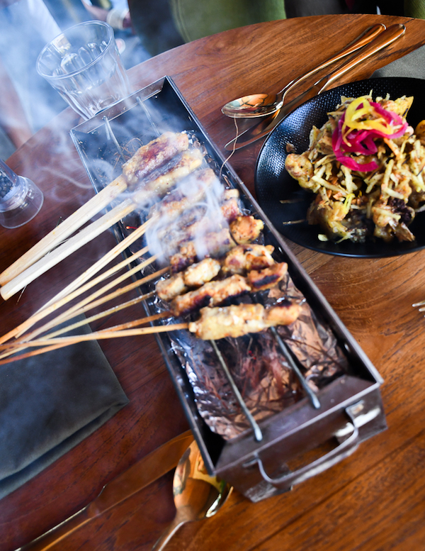 Mixed Satay served on the grill