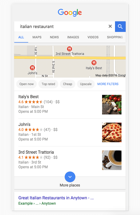 An example of a Knowledge Panel Card in Google when searching for a local Italian restaurant