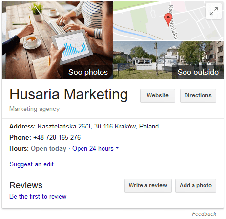 Screenshot of Google's Knowledge Panel Card for Husaria Marketing