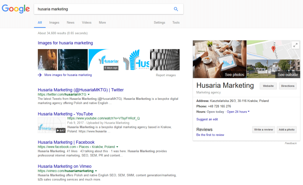 Husaria Marketing's Google Knowledge Panel Card
