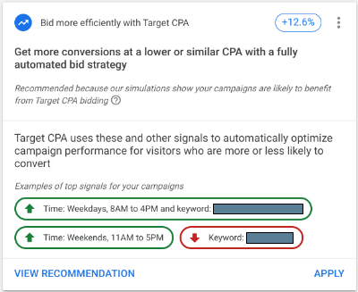 bid more efficiently with google recommendations