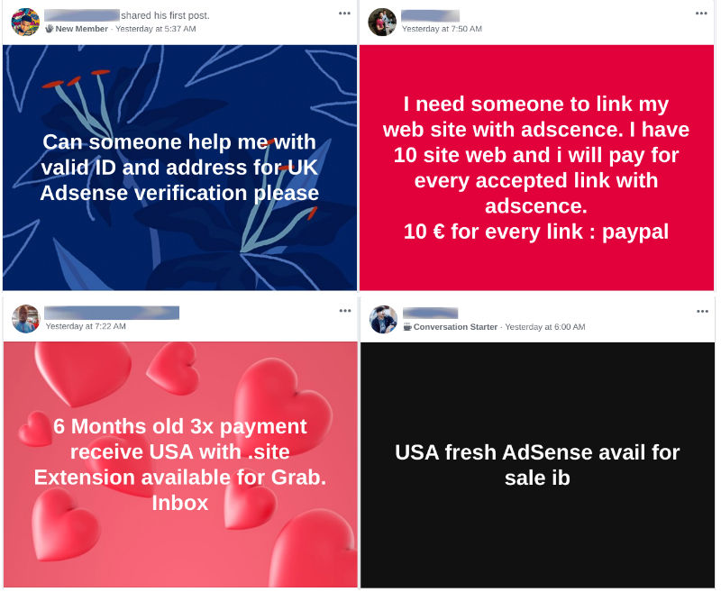 Fraudulent AdSense posts on Facebook