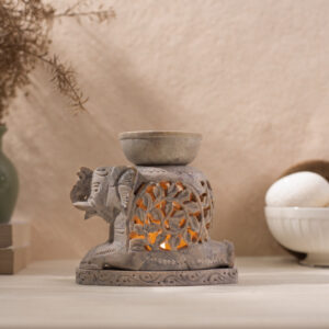 Elephant Oil Burner Spiral Leaf Design
