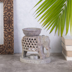 Elephant Oil Burner with Bowl Handcrafted