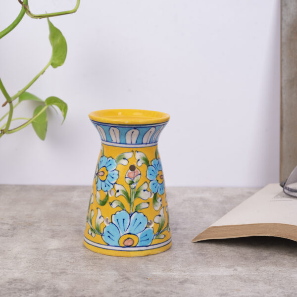 Handmade Blue Pottery Oil Burner, Yellow