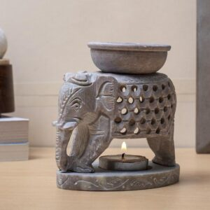 Elephant Design Oil Burner with Bowl