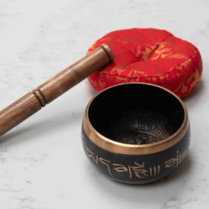 Singing bowl with cushion and stick