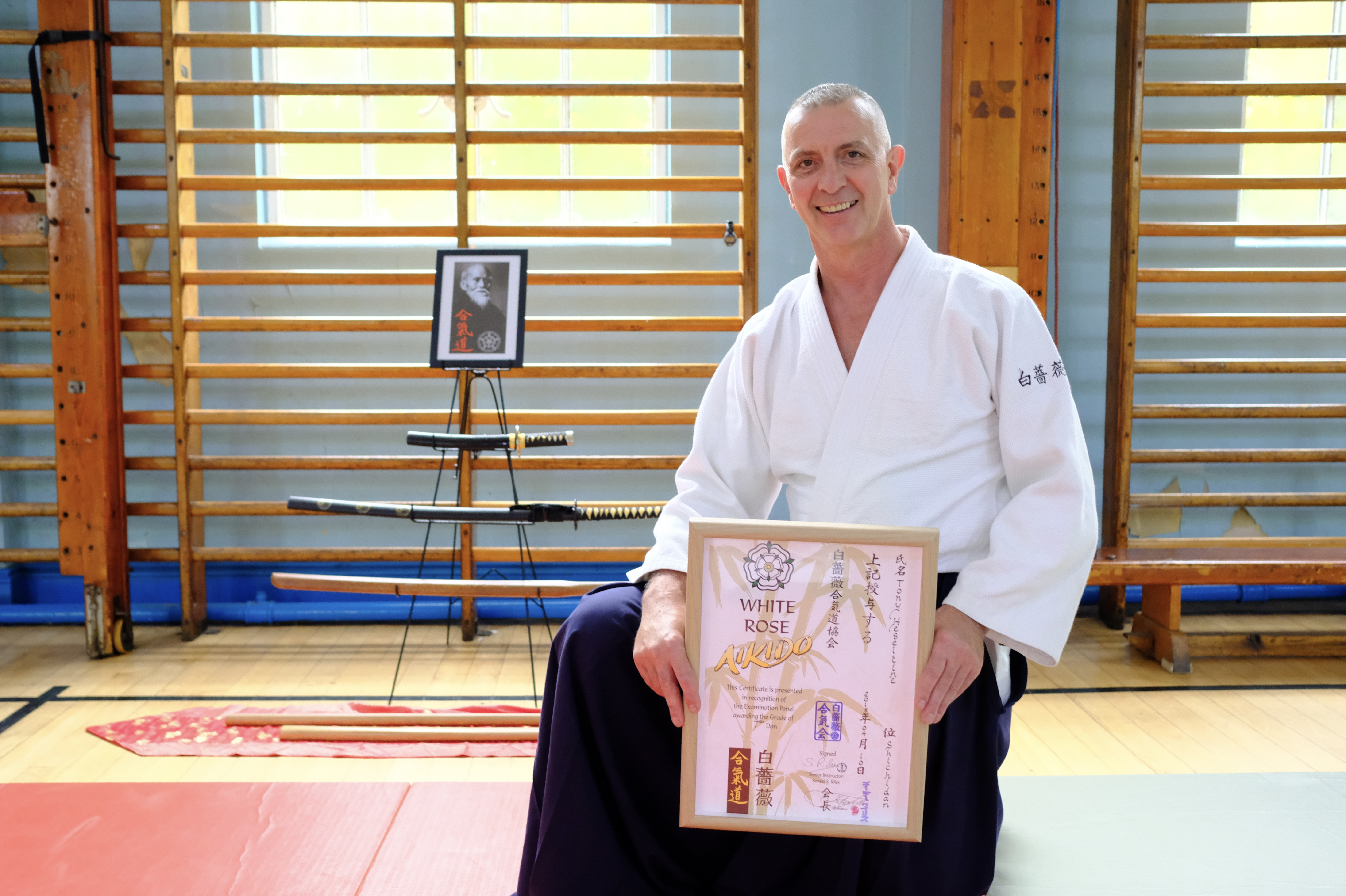 Sensei Heseltine with his 7th Dan certificate