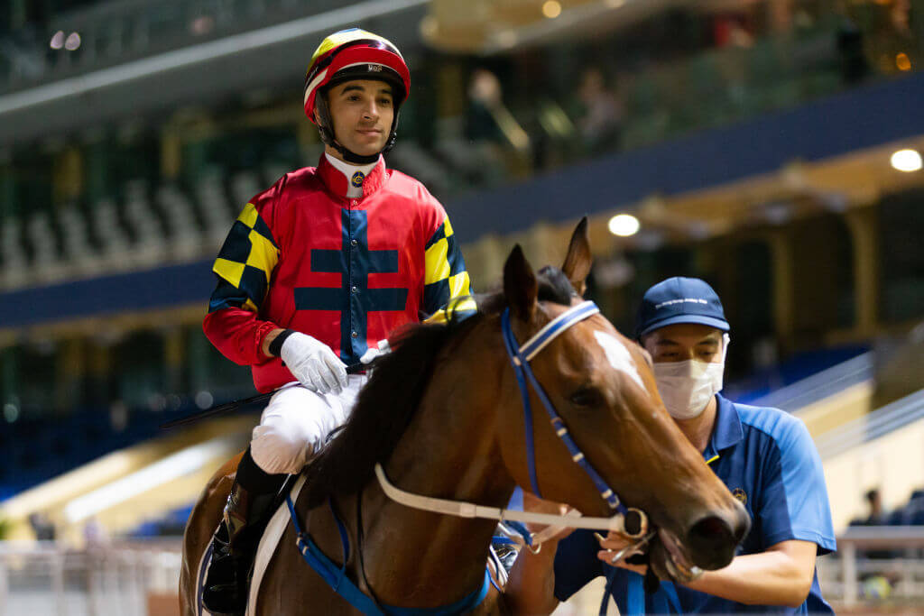brings up his double at Happy Valley on Wednesday night.