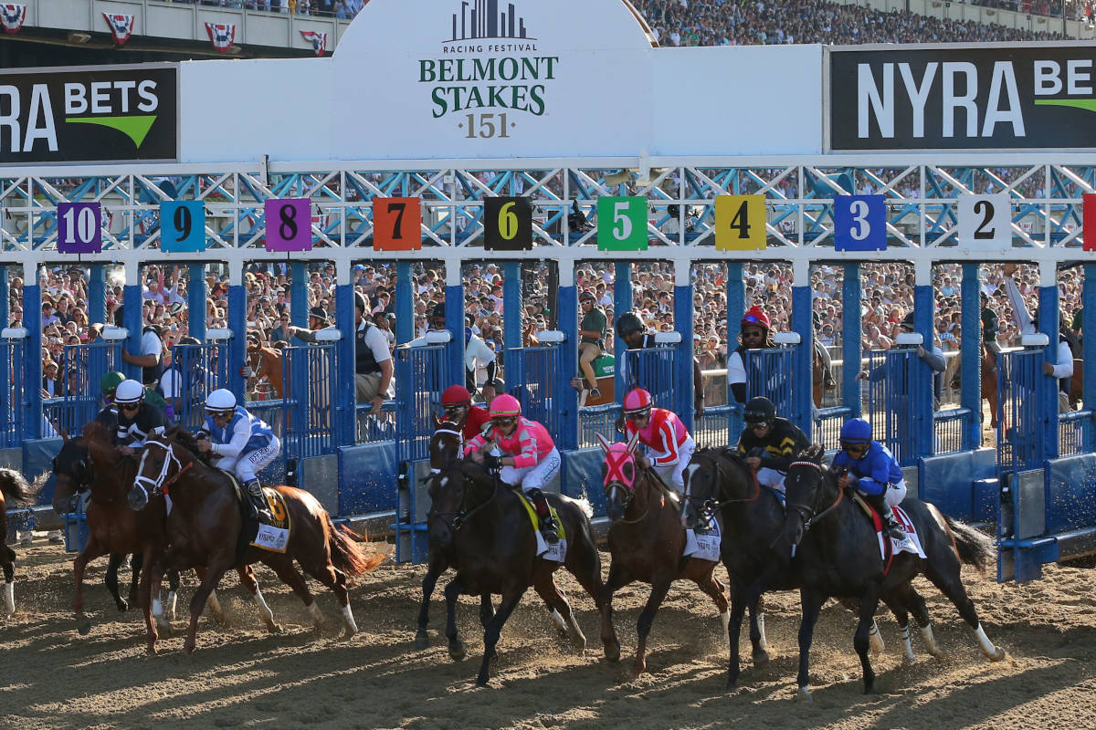ELMONT, NEW YORK- JUNE 8, 2019: Sir Winston with Jockey Joel Rosario aboard wins the Grade I Belmont Stakes at Belmont Park Race Track on June 8, 2019 in Elmont, New York