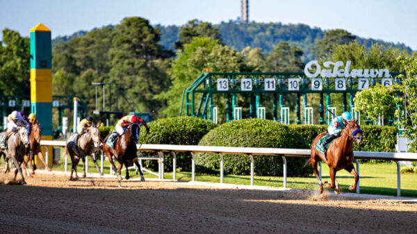 Charlatan leads down the stretch during the 84th running of The Arkansas Derby