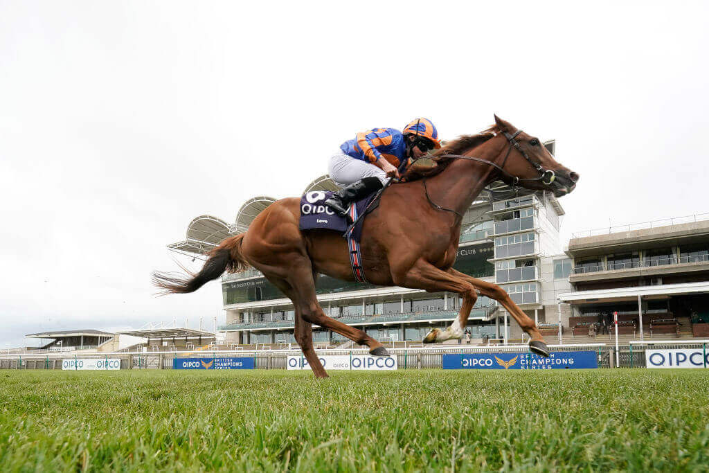 Ryan Moore guides Love to victory in the 1000 Guineas at Newmarket.