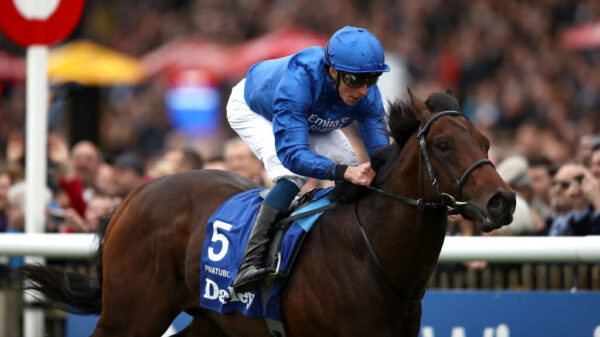 Pinatubo ridden by William Buick wins The Darley Dewhurst Stakes