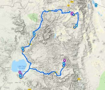 Map of Ethiopia historic North tour route: Lalibela, Bahir Dar, Gondar, Gherala, Mekele