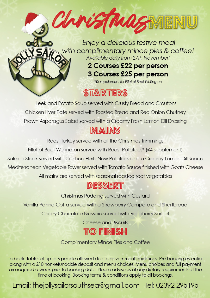 Christmas menu and entertainment