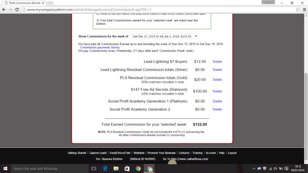 My Power Lead System account screenshot week ending Jan 2, 2016