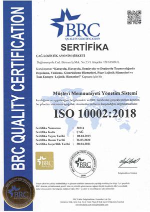 Çağ Lojistik ISO 10002 Sertifikamız