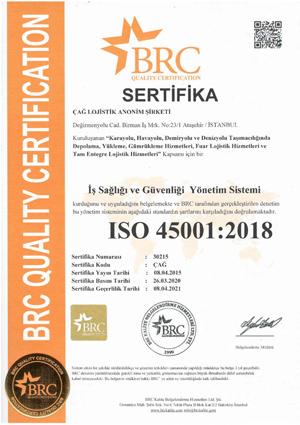 Çağ Lojistik ISO 45001 Sertifikamız