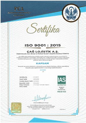 Çağ Lojistik ISO 9001 Sertifikamız