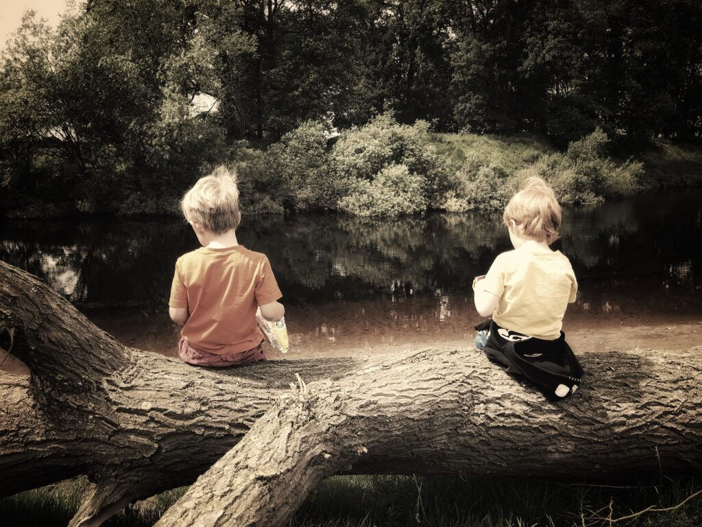 Lads sitting on a log
