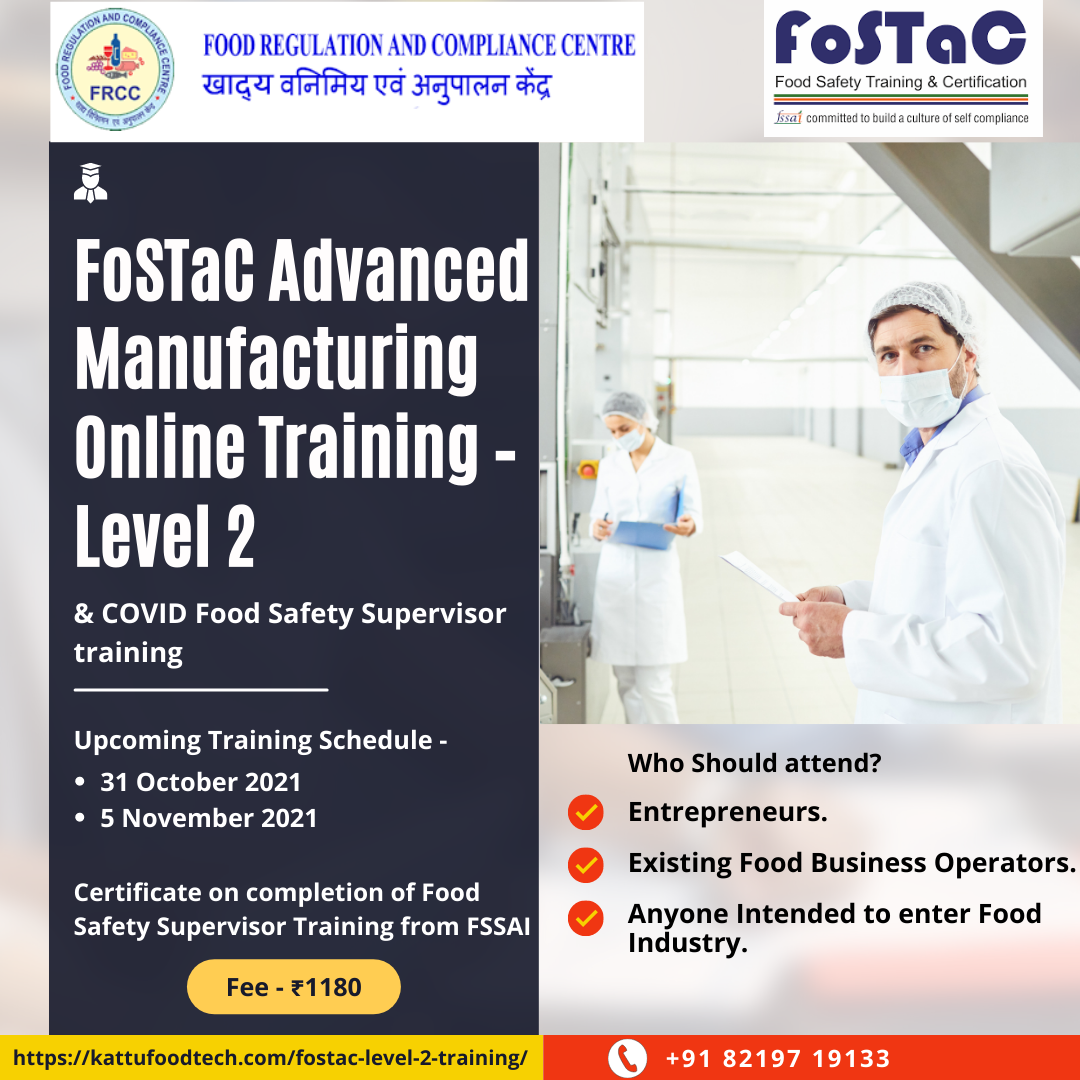 Food Safety Training and Certification - FoSTaC level 2 training - FRCC - KATTUFOODTECH