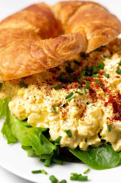 Serving of devilled egg salad