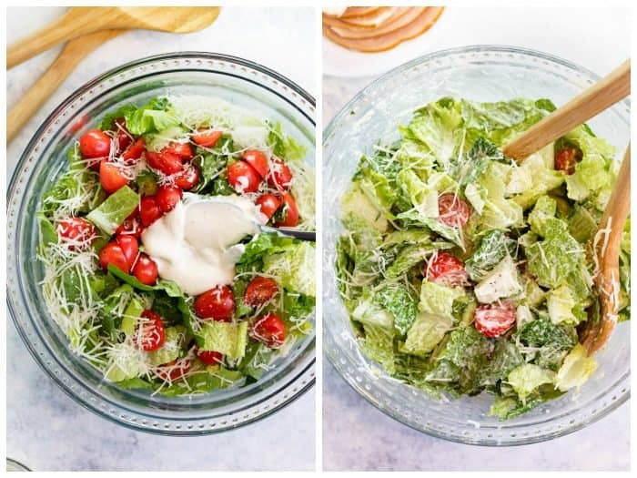 Mixing Caesar Salad