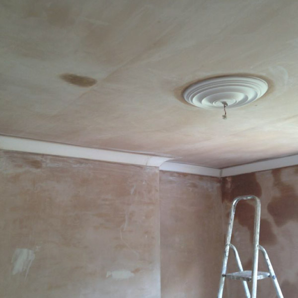 lounge plastering & coving after