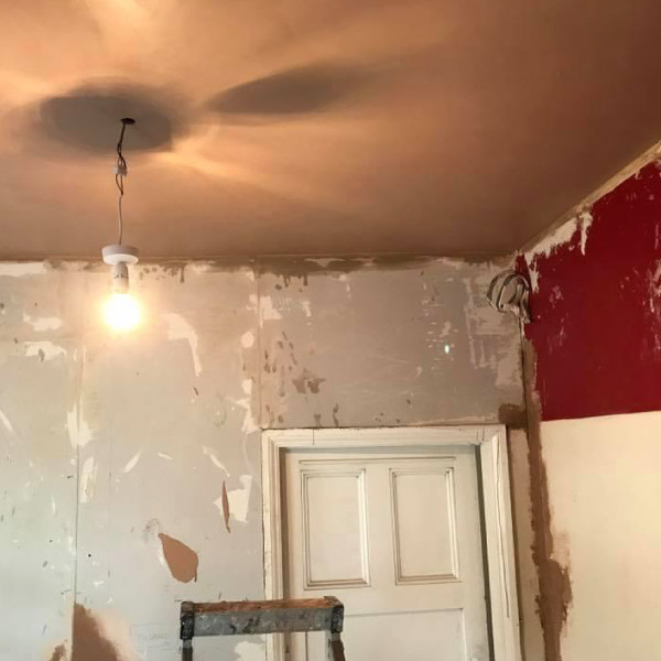plastering during