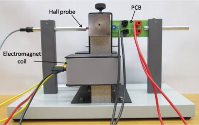 4. Side view of printed circuit board (PCB) and Hall probe placed vertically in between the pole pieces of electromagnet.
