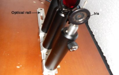 3. An assembly of optical components on the optical rail