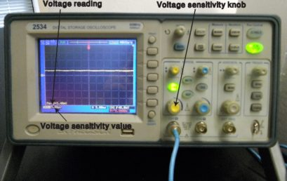 9. Adjusting voltage sensitivity range of a digital oscilloscope