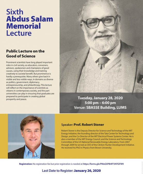 Sixth Abdus Salam Memorial Lecture (January 28th 2020)