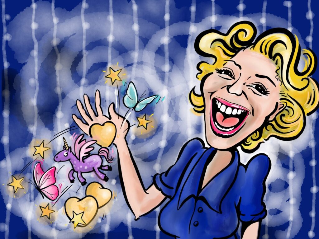 Cartoon representation of Big Magical Kathryn Koromilas by Sherry Tolputt.