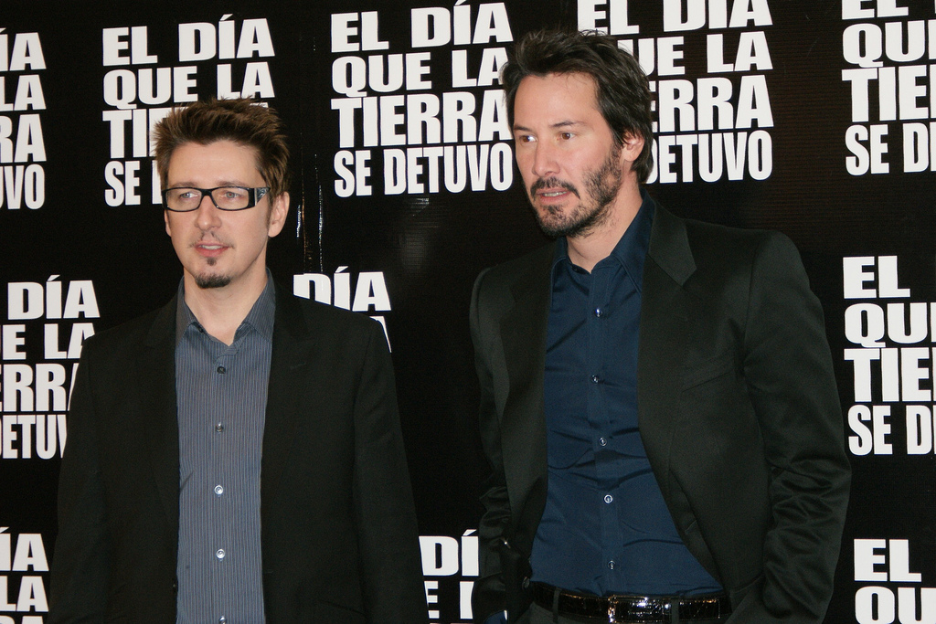 scott derrics and keanu reeves at a media interaction