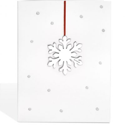 Silver 'Flowery' Decoration Print on Dotty Card