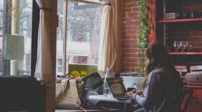 a remote employee working from her home office