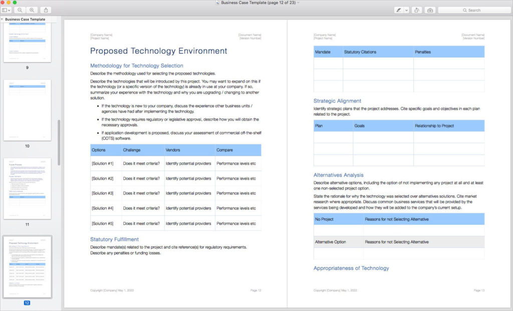 Business_Case_Template_Apple_iWork_Pages_Technology_Environment